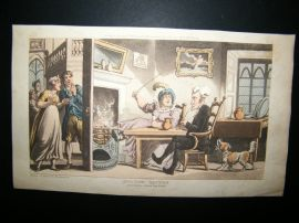Dr Syntax by Rowlandson 1817 Hand Col Satire Print. Returned from His Tour